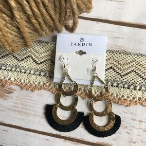 Jardin Jewelry - Jardin frayed trim layered dangle and drop earring